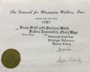 The Council for Wisconsin Writers, Inc. First Place award for the year 1981